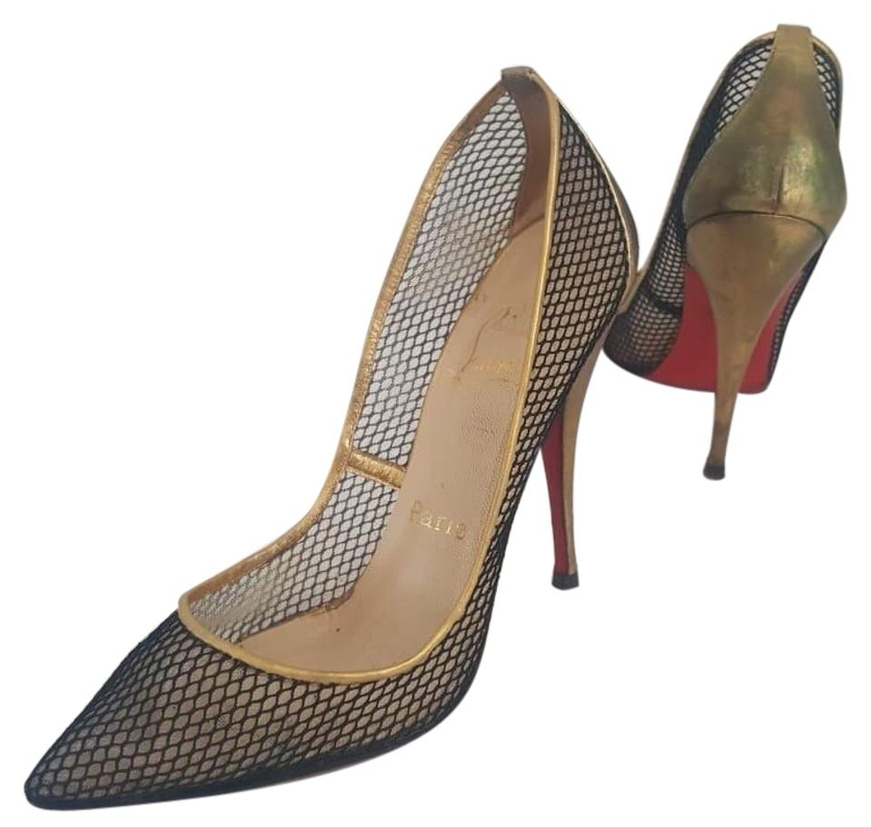 d8e805b75 Christian Louboutin Black & Gold Follies Resille Glittering Fishnet Pumps