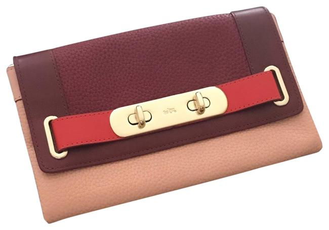 Item - Multi Pink Red and Maroon Leather Clutch