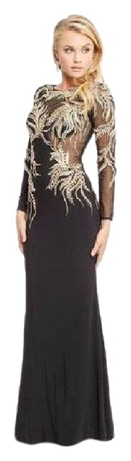 Item - Navy Blue Jersey Illusion Metallic Embellished New Long Formal Dress Size 14 (L)