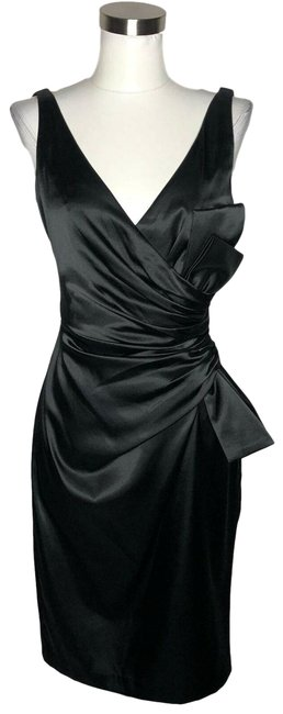 Item - Black N884 Designer Solid Satin Sleeveless Short Formal Dress Size 6 (S)