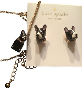 Kate Spade Kate Spade Ma Cherie French Bulldog Earrings & Necklace Set