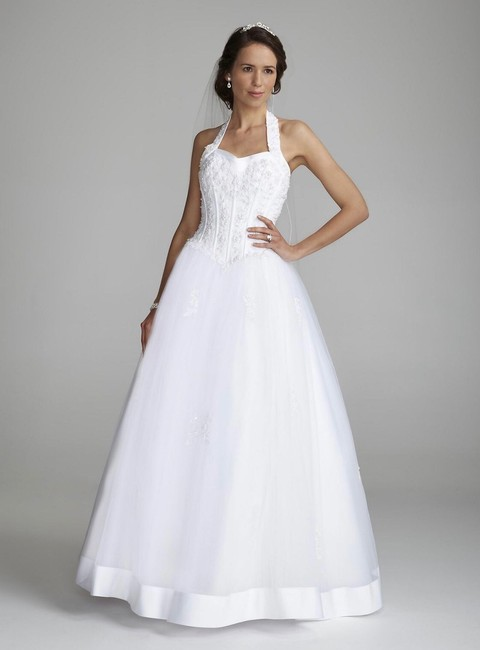 Item - White Halter Sweetheart Tulle Formal Wedding Dress Size 2 (XS)