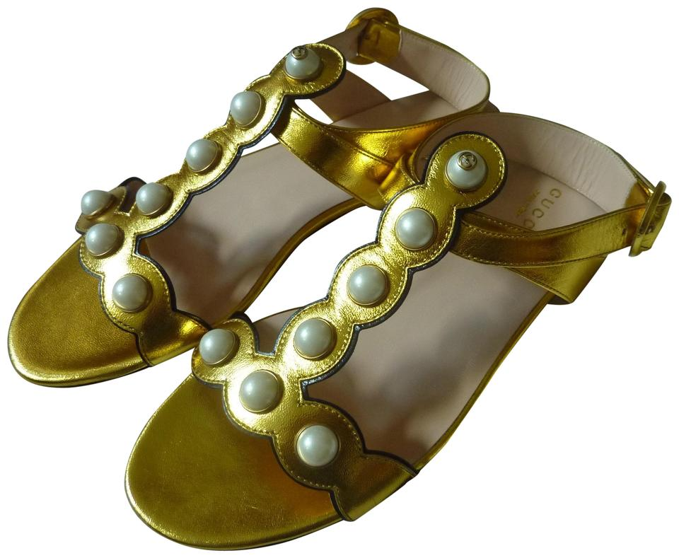 9d58dde13 Gucci Gold 'willow' Pearly Logo Flat Sandals Size US 7 Regular (M, B ...