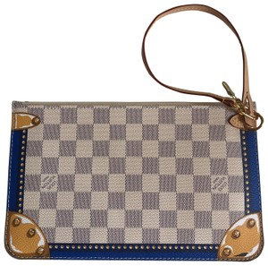 fb67eab80e6 Louis Vuitton Wristlet in White Blue Damier Azur