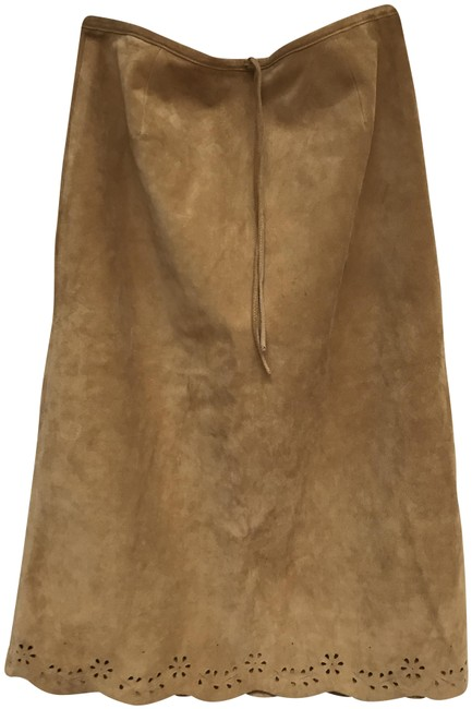 Item - Tan/Mustard Womens Leather Suede Skirt Size 6 (S, 28)