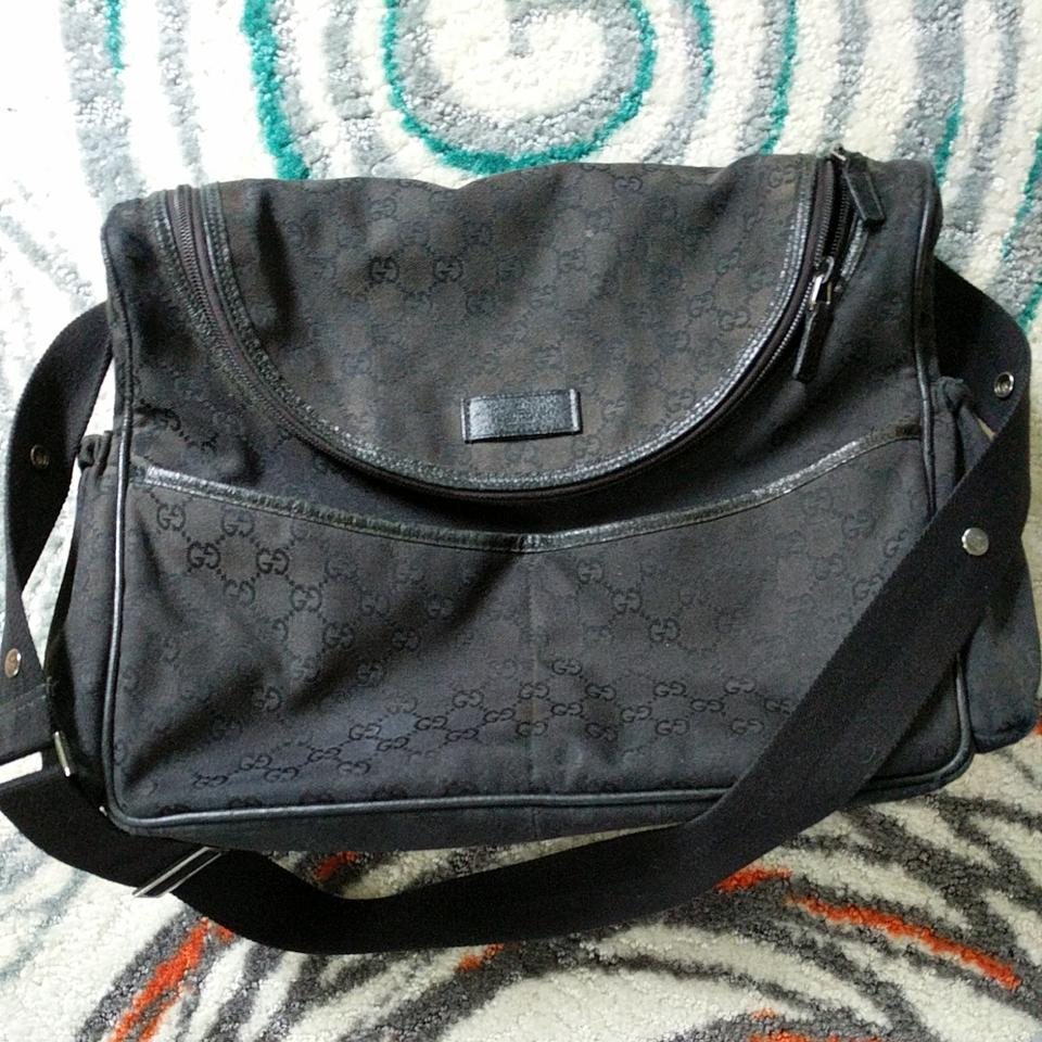 0f6ffcf3080ed2 Gucci With Matching Changing Pad Black Canvas Diaper Bag - Tradesy