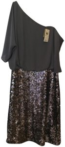 Aidan Mattox Cocktail One Shoulder Chiffon And Sequin Size 12 L Large New With Tags Dress