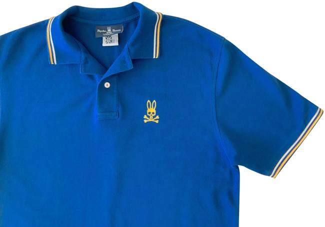 Item - Blue and Yellow Men's Polo In Button-down Top Size 18 (XL, Plus 0x)