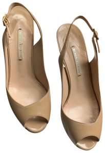 Nicholas Kirkwood Slingback New Patent Leather tan Platforms