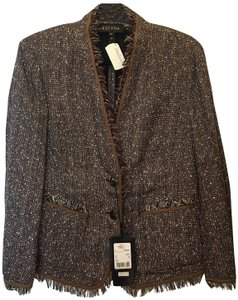 Escada Jacket Linen Blend Fringed Trim Size 12 L Large New With Tags Brown Multi Blazer