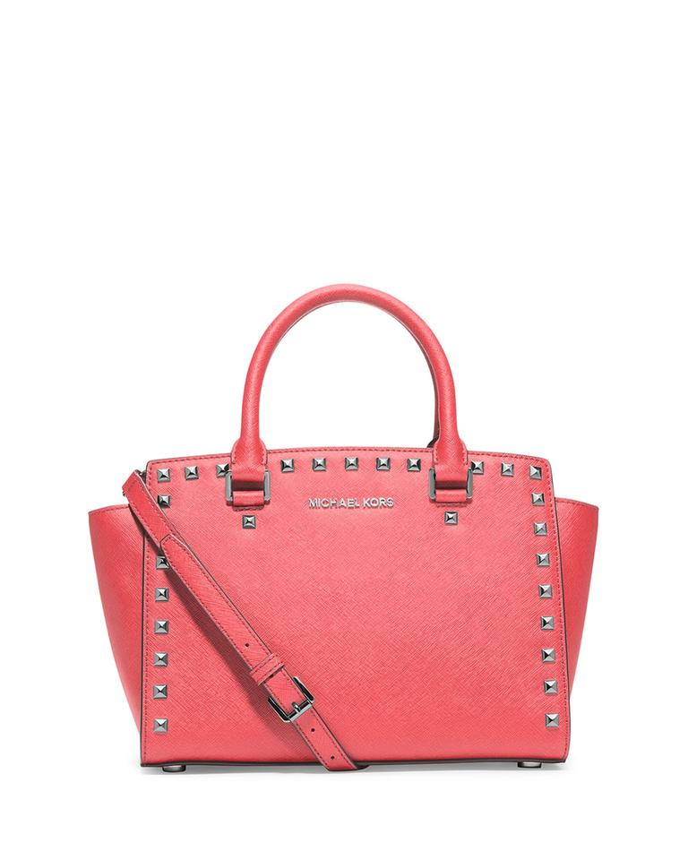 Michael Kors Selma Medium Studded (New with Tags) Coral PinkSilver Hardware Saffiano Leather Satchel 36% off retail