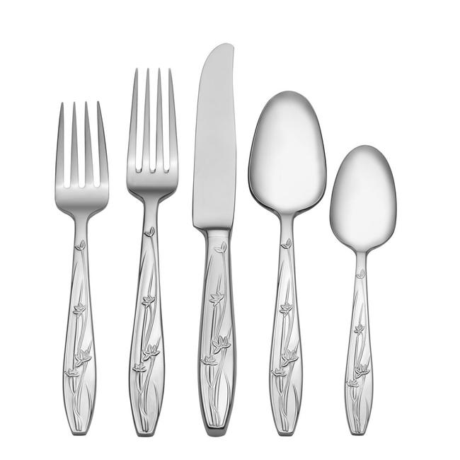 Item - Silver Pure Red 18/0 Stainless Steel Flatware 5 Piece Place Setting
