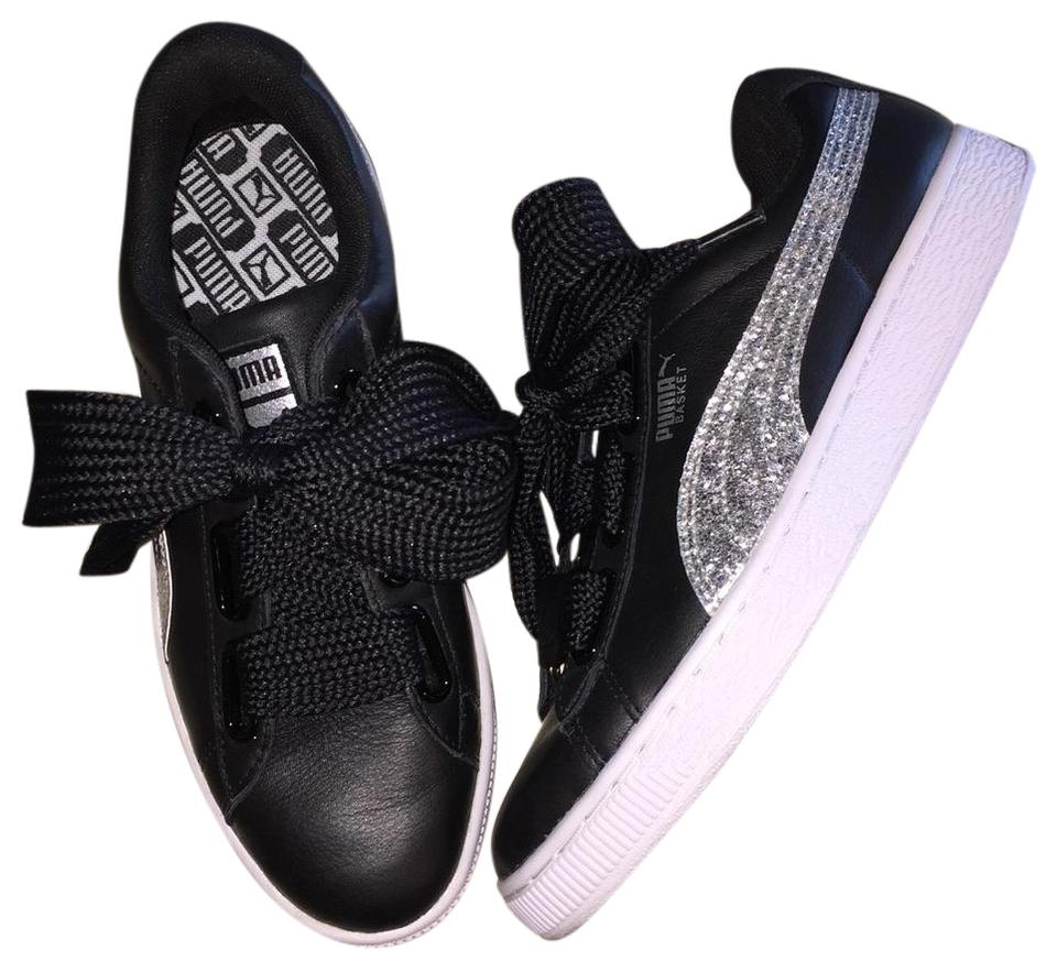 wholesale dealer 26ae2 a02bd Puma Black Basket Heart Glitter Wide Lace Sneakers Size US 8.5 Regular (M,  B) 32% off retail