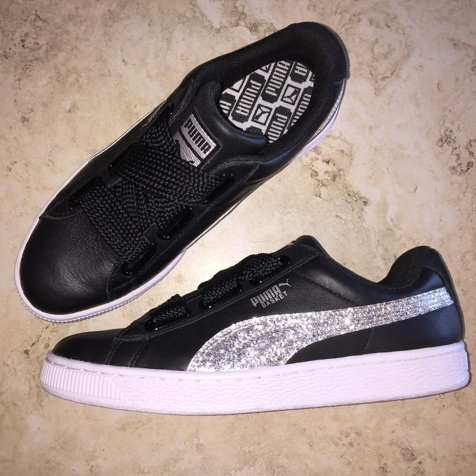 wholesale dealer 580e4 0dd99 Puma Black Basket Heart Glitter Wide Lace Sneakers Size US 8.5 Regular (M,  B) 32% off retail