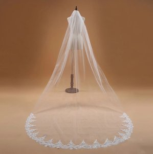 Long 3m 10ft Lace Appliqué Edge Cathedral White Or Ivory Bridal Veil