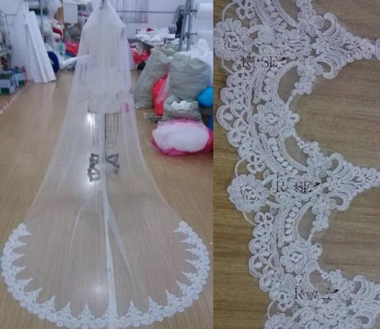 Long 3m 10ft Lace Appliqué Edge Cathedral White Or Ivory Bridal Veil Image 4