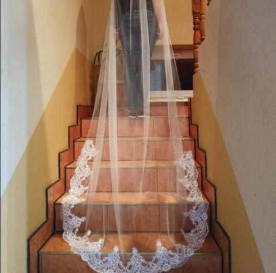 Long 3m 10ft Lace Appliqué Edge Cathedral White Or Ivory Bridal Veil Image 5