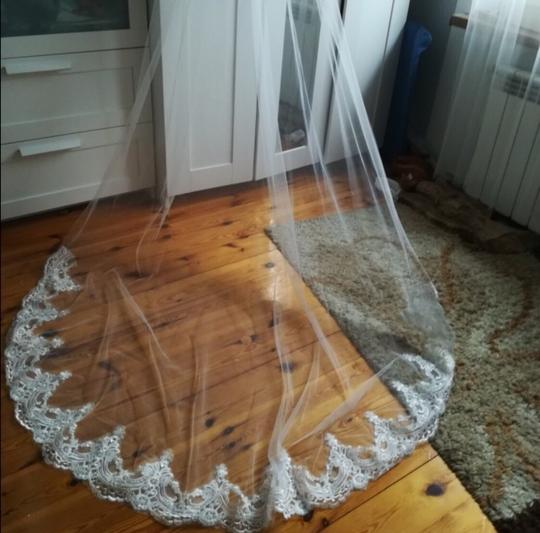 Long 3m 10ft Lace Appliqué Edge Cathedral White Or Ivory Bridal Veil Image 6