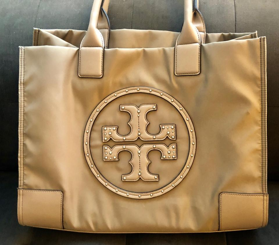 dcc0396ac20 Tory Burch Nylon Embellished Logo Carryall Tote in French Grey Image 0 ...