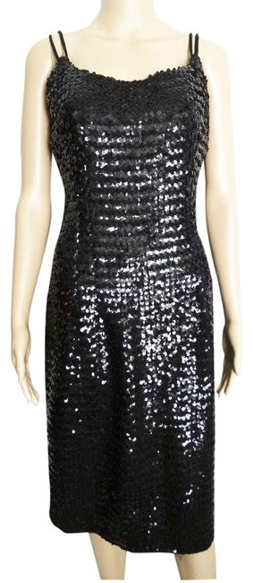Black Sequins 1950s Wiggle Mid Length Cocktail Dress