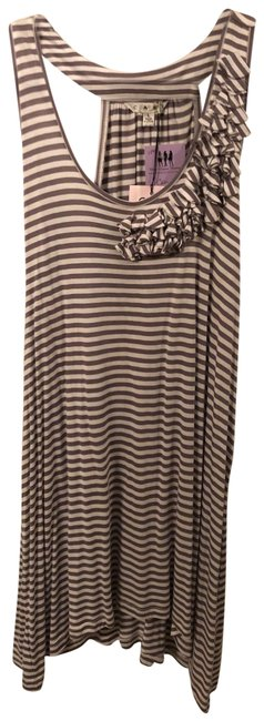 Item - Gray and White New Sleeveless Stripe Lg Tunic Size 12 (L)
