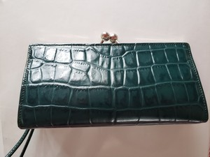 Burberry London Crocodile Leather Wristlet in Teal