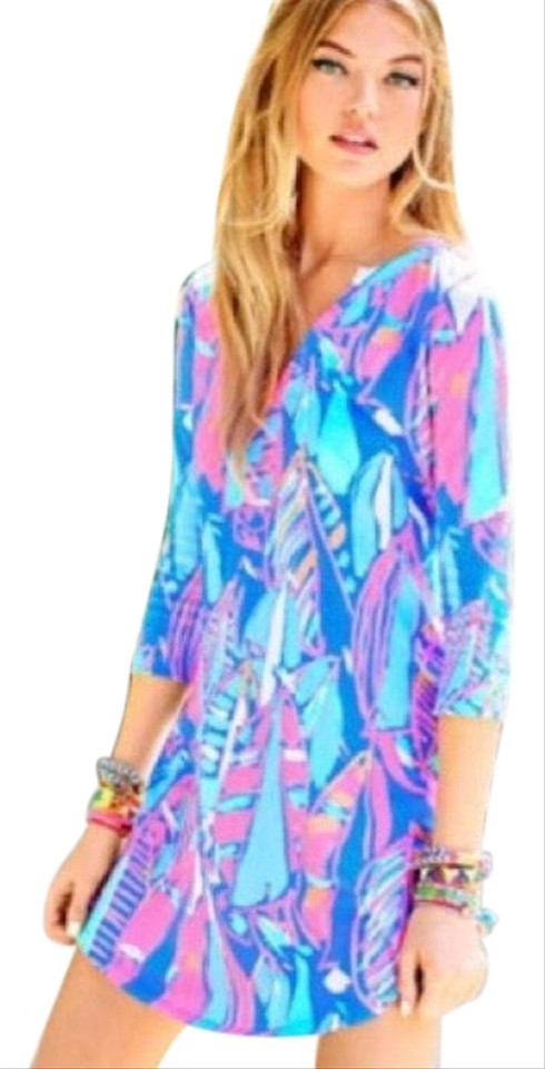4701743b995b91 Lilly Pulitzer Blue Ali Bay Out To Sea Short Casual Dress Size 4 (S ...