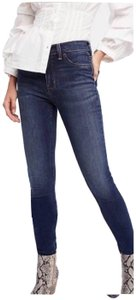 Free People Long And Lean High Waist Medium Wash Jegging Stretch Skinny Jeans-Dark Rinse