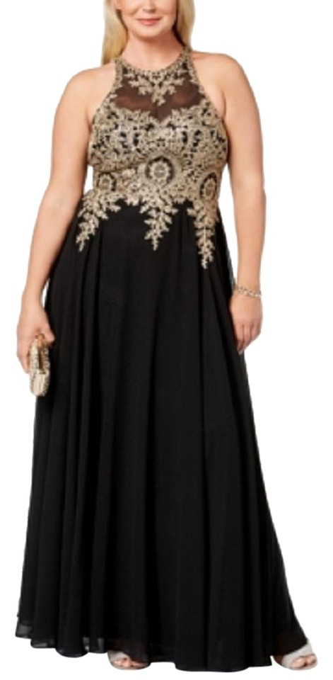 Xscape Black/Gold Embroidered Gown Black/Gold Plus Long Formal Dress Size  14 (L) 63% off retail
