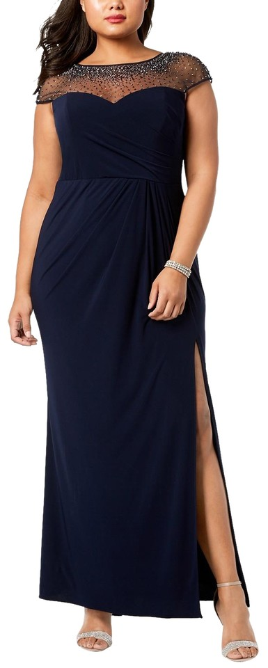 Xscape Navy Embellished Illusion Gown Long Formal Dress Size 22 (Plus 2x)  65% off retail