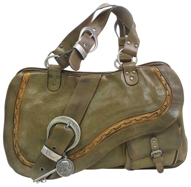 Item - 'gaucho' Olive Leather and Copper Trim Satchel