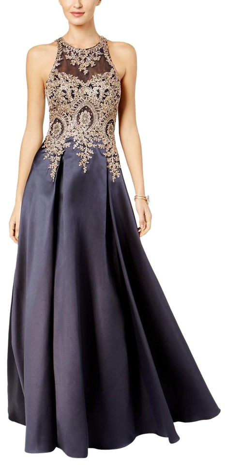 ff59e9cae5ccf Xscape Navy/Gold Embroidered Illusion Ballgown Navy/Gold Long Formal ...
