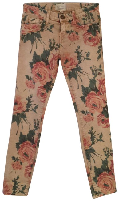 Item - New Unworn Summer Gold and Pink Floral Light Wash Haystack Skinny Jeans Size 0 (XS, 25)