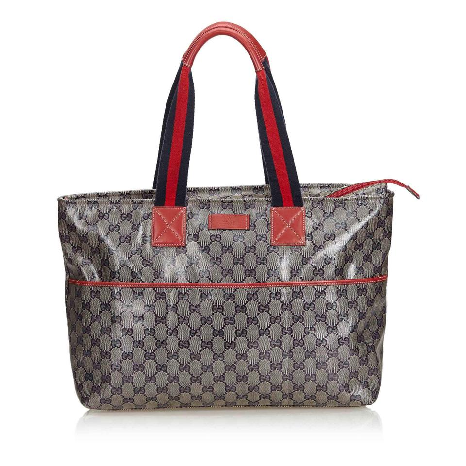 75bf4c0ac Gucci GG Supreme Bag Fabric Italy Gray Coated Canvas Leather Tote ...