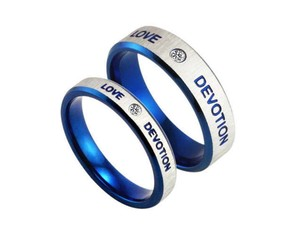 2pc Matching Silver & Blue Band Set Free Shipping