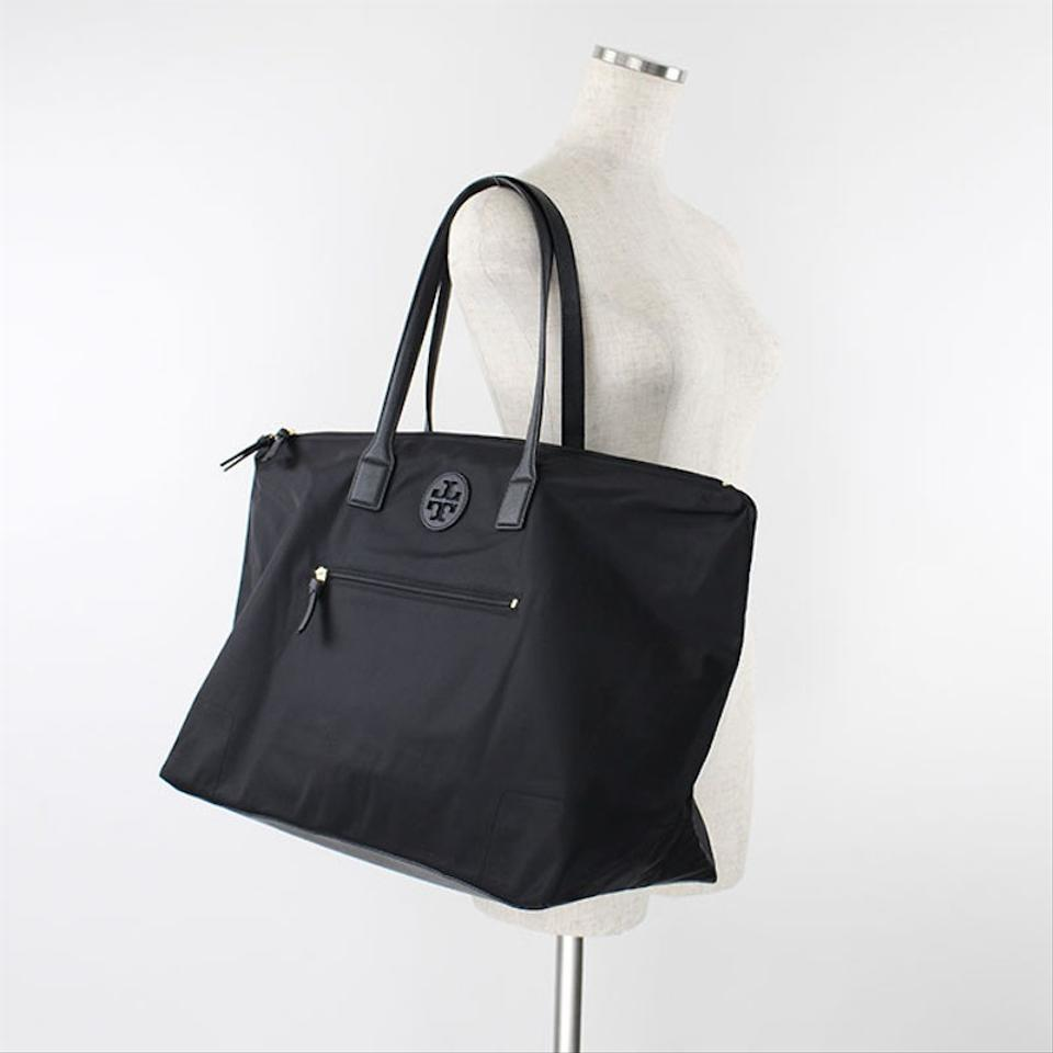 Tory Burch New Large Packable Weekender Overnight Black Nylon Tote