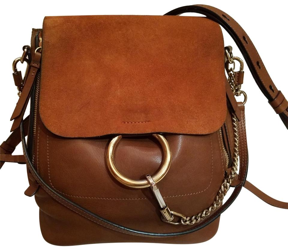 fdd57d02f5c Chloé Faye Medium Brown and Orange Leather Suede Backpack - Tradesy