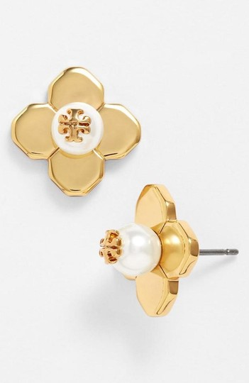Tory Burch NEW TORY BURCH FLORAL GOLD LOGO PEARL STUD EARRINGS DUST BAG NWT Image 1