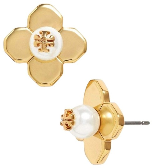 Tory Burch NEW TORY BURCH FLORAL GOLD LOGO PEARL STUD EARRINGS DUST BAG NWT Image 11