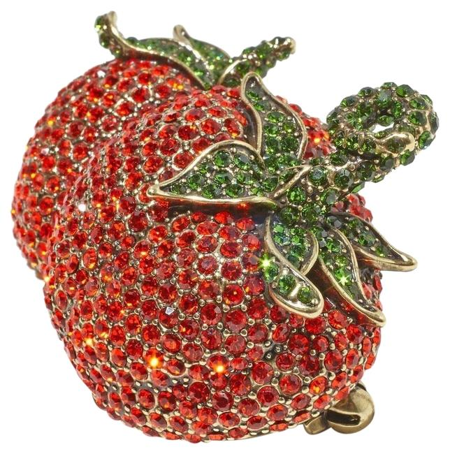 Item - Red Strawberry Tomato Brooch Pin Fantastic Find