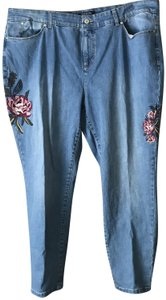 Talbots Simply Flattering Ankle Embroidered Roses Logo Button Machine Wash Straight Leg Jeans-Light Wash