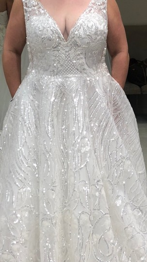 White with Silver Sparkle 2019 Formal Wedding Dress Size 14 (L) Image 2