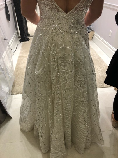 White with Silver Sparkle 2019 Formal Wedding Dress Size 14 (L) Image 3