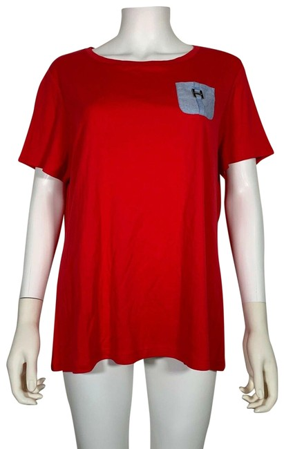 Item - Red T-shirt Short Sleeve Cotton Women 0x New Tank Top/Cami Size 16 (XL, Plus 0x)