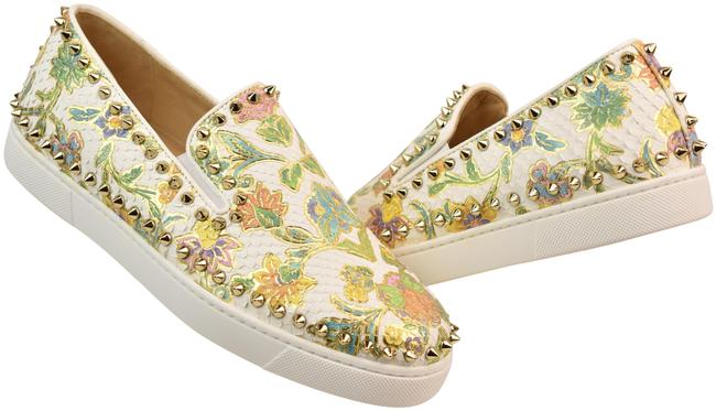 Item - Multi-color Pik Boat White Floral Python Leather Spikes Sneakers 8 Flats Size EU 38 (Approx. US 8) Regular (M, B)