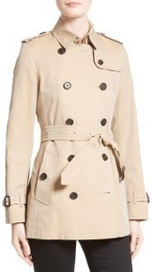 Burberry Jacket Military Beige Check Trench Coat