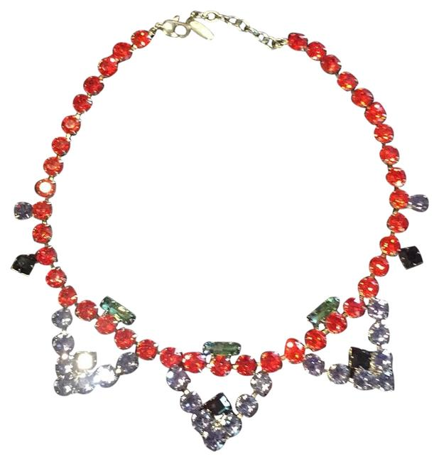 Item - Orange Lilac Green and Black Crystal Necklace