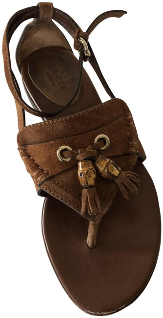 Item - Brown Suede Ankle Strap with Bamboo Fringe Tassels Sandals Size US 7 Regular (M, B)