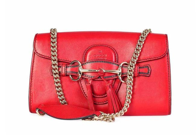 Item - Chain Emily Red Lambskin Leather Shoulder Bag