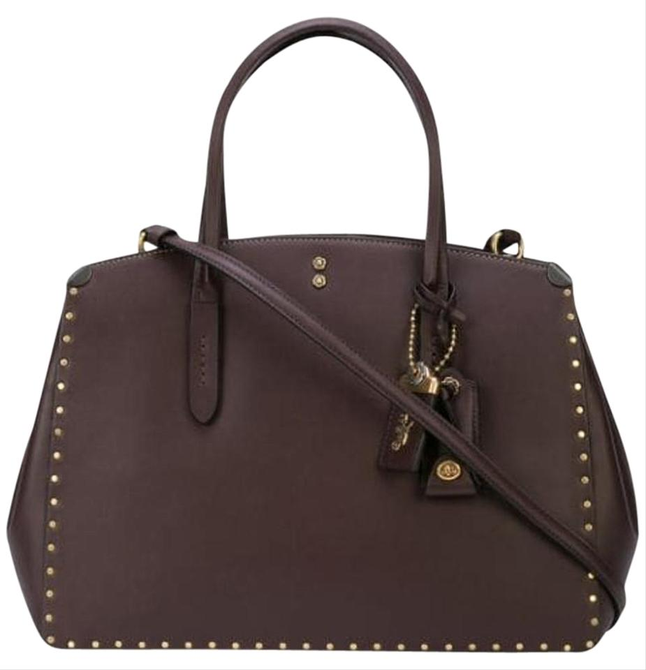 8a4ea0d67a6 Coach 1941 Carryall Cooper with Rivets Oxblood Purple Leather Tote 43% off  retail